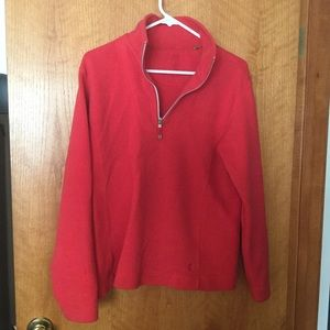 True red quarter zip top cotton top